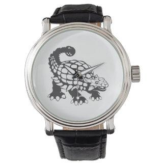 Blanco y negro prehistórico del dinosaurio del relojes de pulsera