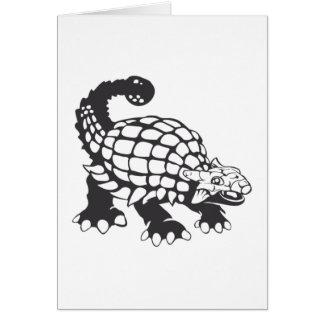 Blanco y negro prehistórico del dinosaurio del tarjeta pequeña