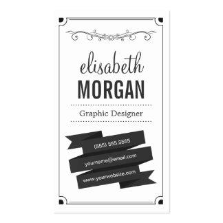 Blanco y negro retro - contacto personal simple tarjetas de visita