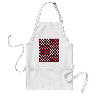 Blanco y negro rojo cuadrado abstracto delantales