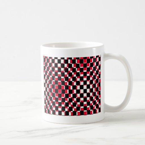 Blanco y negro rojo cuadrado abstracto tazas