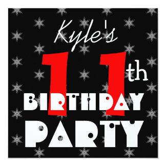 Blanco y negro rojo del 11mo cumpleaños del niño invitación 13,3 cm x 13,3cm