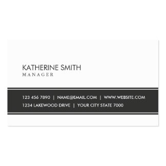 Blanco y negro simple llano elegante profesional tarjeta de visita