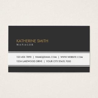 Blanco y negro simple llano elegante profesional tarjetas de visita