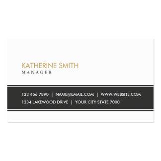 Blanco y negro simple llano profesional elegante tarjetas de visita