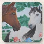 Blanco y pares del caballo de Brown - pintura de Posavasos De Bebida