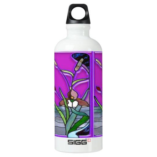 blanco y púrpura florales de la botella del