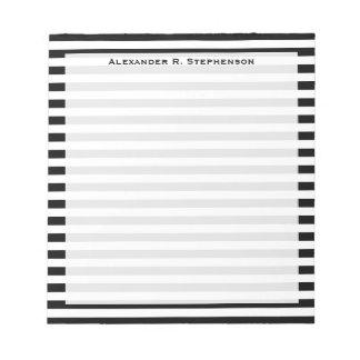 Blanco y raya negra del monograma bloc