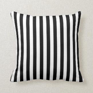 Blanco y rayas negras almohada