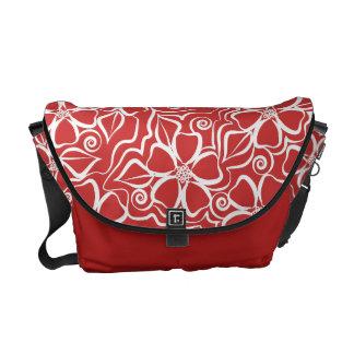 Blanco y rojo de ladrillo florales urbanos abstrac bolsas de mensajeria