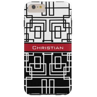 Blanco y rojo geométricos modernos del negro de funda de iPhone 6 plus tough