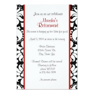 Blanco y rojo negros invitación 12,7 x 17,8 cm