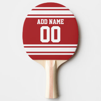 Blanco y rojo se divierte número conocido de pala de tenis de mesa