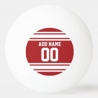 Blanco y rojo se divierte número conocido de pelota de ping pong