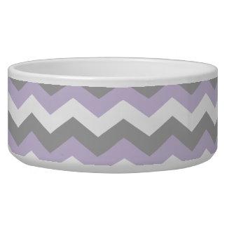 Blanco, zigzag gris púrpura de Chevron Bol Para Perro