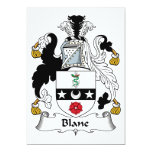 "Blane Family Crest 5"" X 7"" Invitation Card"