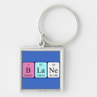 Blane periodic table name keyring Silver-Colored square keychain