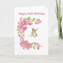 Blank 80th Birthday Cherry Blossom & Hummingbird Card