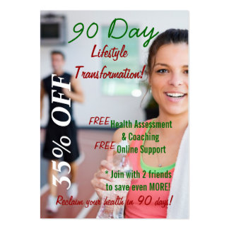 Blank 90 Day Lifestyle Transformation card Large Business Card