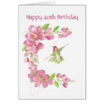 Blank 90th Birthday Cherry Blossom & Hummingbird Greeting Card