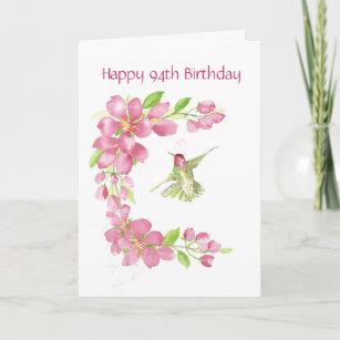 Blank 94th Birthday Cherry Blossom Hummingbird Card