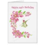 Blank 94th Birthday Cherry Blossom & Hummingbird Greeting Card