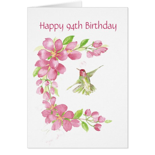 Blank 94th Birthday Cherry Blossom & Hummingbird Card