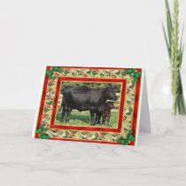 Blank Angus Cow And Calf Blank Christmas Card