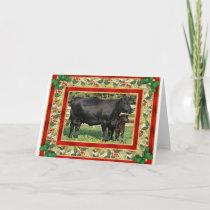 Blank Angus Cow And Calf Blank Christmas Card