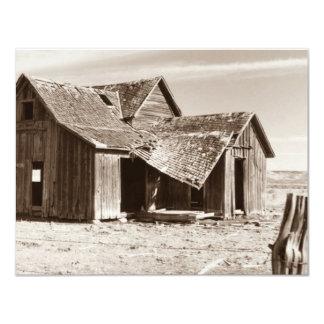 """Blank Announcement Invitation Old Homestead Sepia 4.25"""" X 5.5"""" Invitation Card"""
