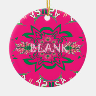 Blank baby vivid pink floral purple shade monogram ceramic ornament