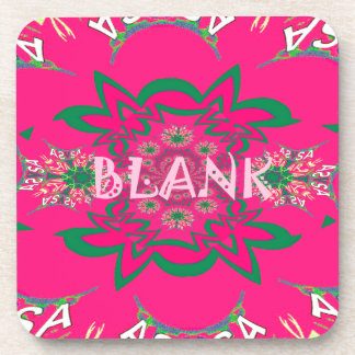 Blank baby vivid pink floral purple shade monogram drink coaster
