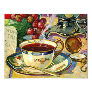 "Blank Back Morning Coffee Still Life Invitation Or 4.25"" X 5.5"" Invitation Card"