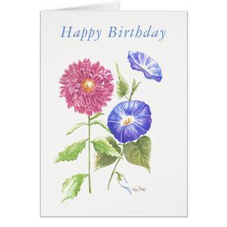 Blank birthday card September birth flowers