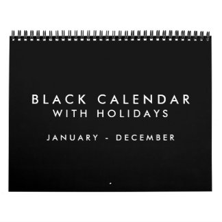 Blank Black Calendar With Holidays 12 Months