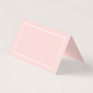 Blank Blush Pink and White Wedding Place Card