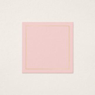 Blank Blush Pink with Faux Gold Foil Border Square Business Card