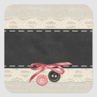 Blank Buttons Bow - Customizable Product Packaging Square Sticker
