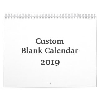 Blank Calendar 2019 Custom With Holidays