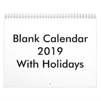 Blank Calendar 2019 With Holidays