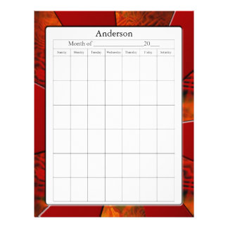 Blank Calendar Page Letterhead Template