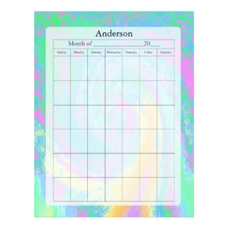 Blank Calendar Page, Pastel Design Personalized Letterhead