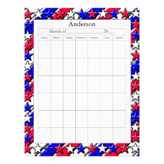 Blank Calendar Page - Red, White, and Blue Letterhead