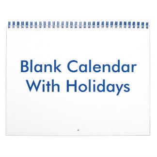 Blank Calendar With Holidays And Blue Wire