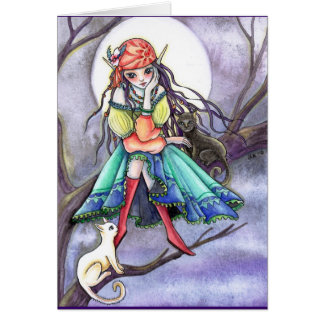 Blank Card - Gypsy Witch & Cat ~~* The Visitor *~~
