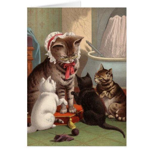 Blank card - Naughty Cat series - Knitting Cats