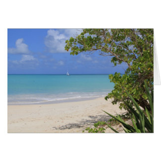 Blank Card with a Sailboat in the Caribbean