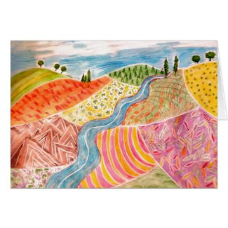 Blank Card with Patchwork Landscape Painting