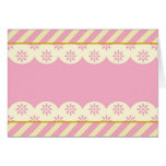 Blank Card with Pink & White Eyelet Background