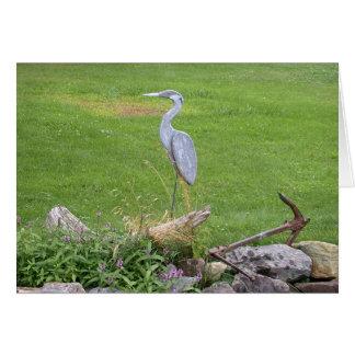 Blank Card - Wooden Blue Heron Sculpture